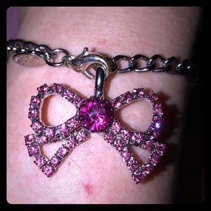 Tarina Tarantino Silver Pink Jeweled Bow Bracelet